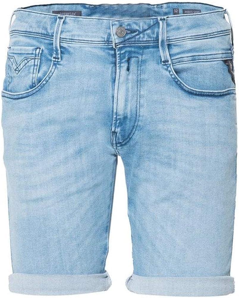 Replay Anbass Hyperflex Blue Denim Shorts
