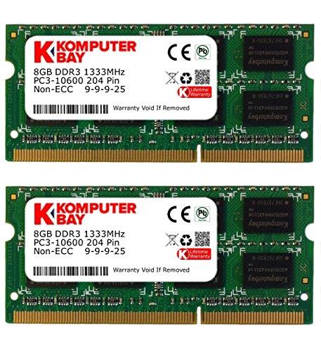 Komputerbay - Memoria RAM portátil, 16GB (2 x 8GB), DDR3, PC3-10600/10666, 1333MHz, SODIMM (204-Pin), 9-9-9-24
