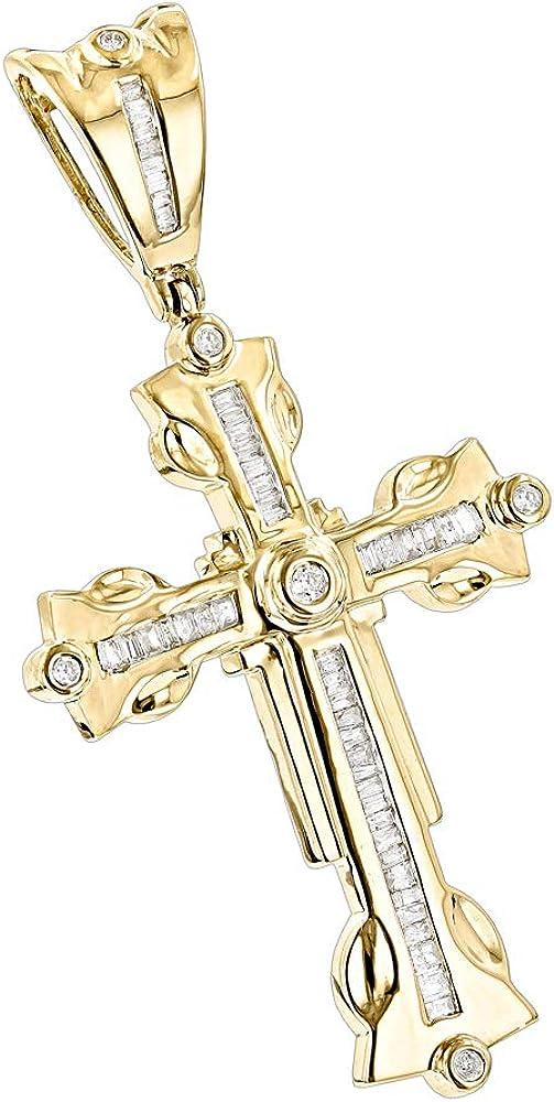 """MEN/'s Stainless Steel 1.6/""""x1/"""" Gold Cross Charm Pendant*GD"""