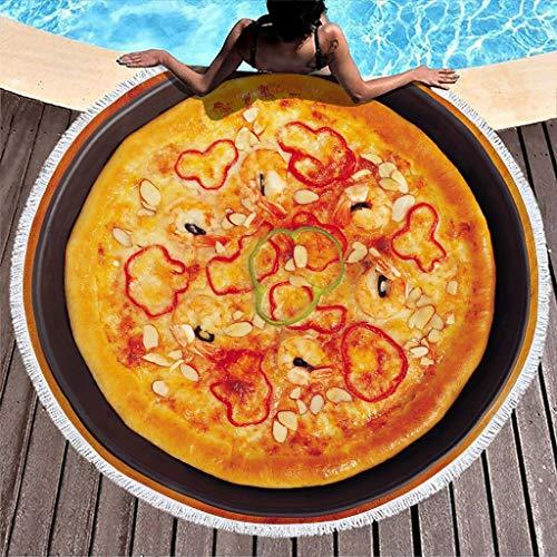 O5KFD & 8 - Toalla de playa para pizza y playa con forma de pizza, para uso en 3D, secado rápido, para camping, picnic, color blanco, 6 150 cm
