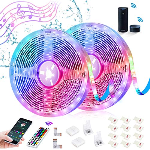 SHOPLED Smart WiFi LED Strip Lights Compatible with Alexa 32.8ft Waterproof Music Sync Color Changing Light Strip Kit, Wireless RGB LED Tape Lights for Kitchen, Bathroom, Party (Not Support 5G WiFi)