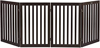 Bonnlo Freestanding Wooden Pet Gate for Dogs Puppy Cats Indoor Staircase Doorway Configurable Folding 4 Panel Indoor Wood Doggy Fence/Divider, 83-Inch Width, 30-Inch Height | Espresso