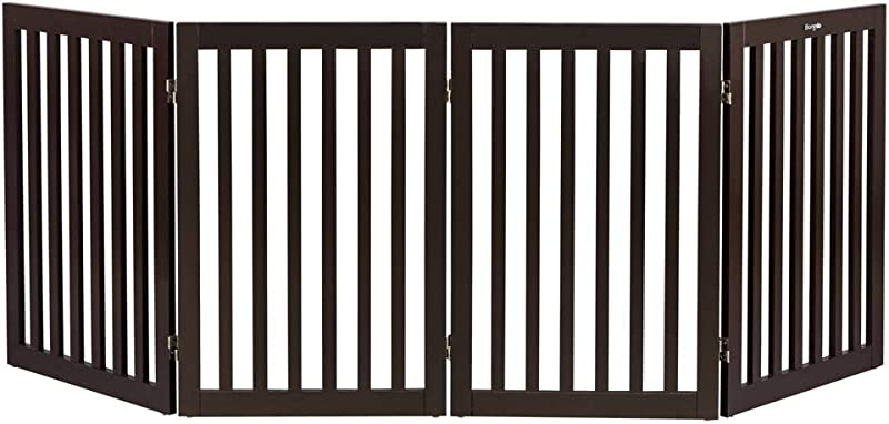 Bonnlo Freestanding Wooden Pet Gate For Dogs Puppy Cats Indoor Staircase Doorway Configurable Folding 4 Panel Indoor Wood Doggy Fence Divider 83 Inch Width 30 Inch Height Espresso