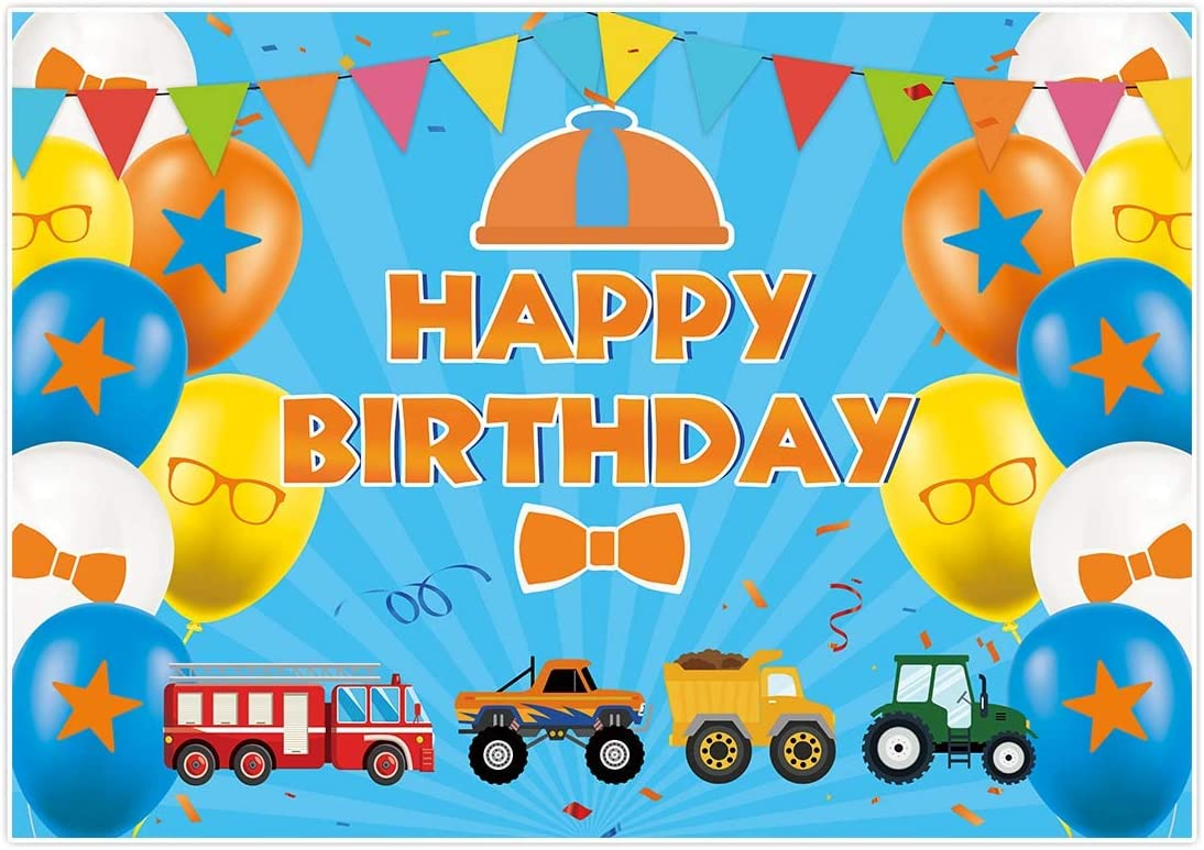 Allenjoy 7x5ft Happy Birthday Themed Backdrop Charlotte Mall Max 76% OFF Kid for Party Blue