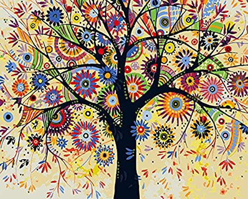 """MiDenso Paint by Numbers DIY Easy Funny Painting Kit for Kids Adults Beginner 16"""" by 20"""" Colorful Pattern with Gift Wrap Stocking Stuffer Christmas Birthday Gifts for Him Girls,Smart Tree"""