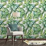 Papel pintado de hoja de palmera tropical de manta, autoadhesivo, mural de pared, diseño natural, arte exótico café, 45,7 x 200,7 cm