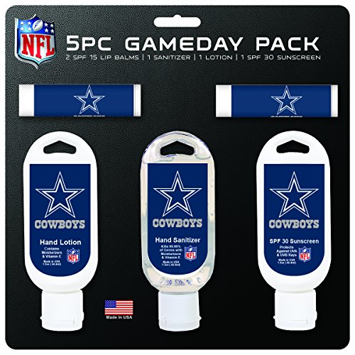 NFL Dallas Cowboys Game Day 5-Pack with 2 Lip Balms, 2 Hand Sanitizers, 1 Hand Lotion
