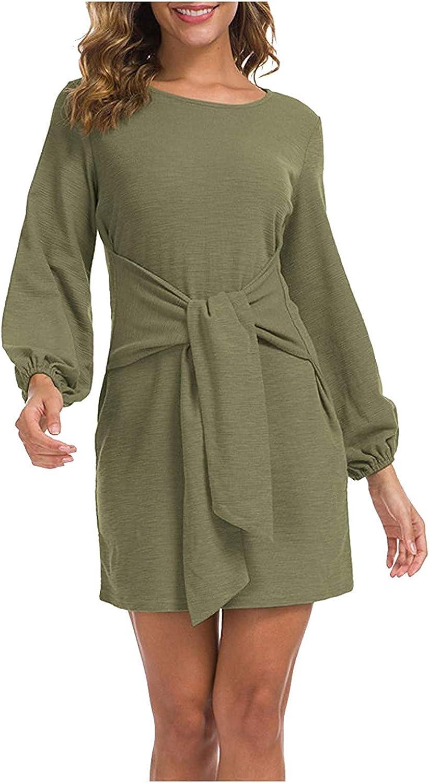 Womens Dresses Maxi Dress Women's Lantern Longsleeve Solid Color Casual Dress Round Neck Short Skirt