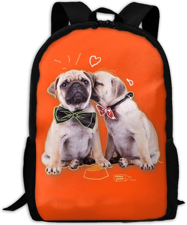 63061cb667e9 Backpack Laptop School Bags Pug Dogs Daypack Shoulder Bag Travel ...