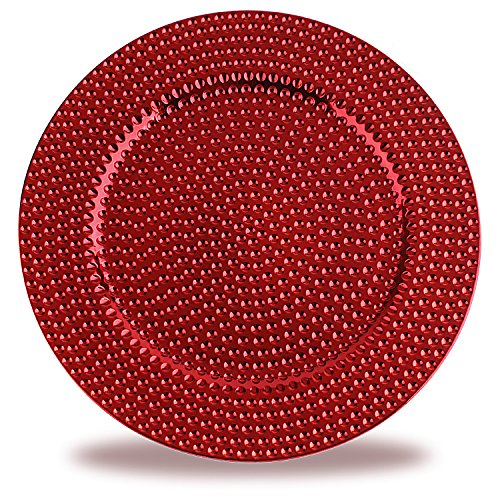FANTASTIC :) Round 13 Inch Plastic Charger Plates with Electroplating Shinny Finish (24-PCS, Hammer Red)