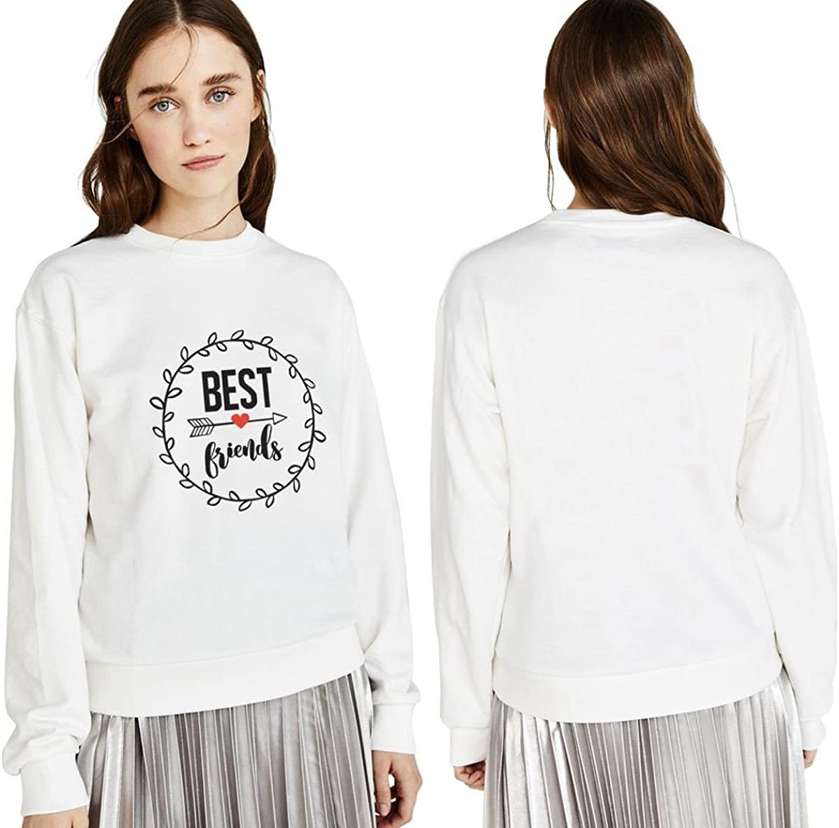 Best Friends Sweatshirt for Women Matching Sweater with BFF Pullover Sweaters for Teen Girls Black White Sister Gift 2 Pieces