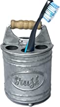 Autumn Alley Rustic Metal Hinged Toothbrush Holder | Adds Organization and Farmhouse Charm to Your Countertop (Galvanized Grey)