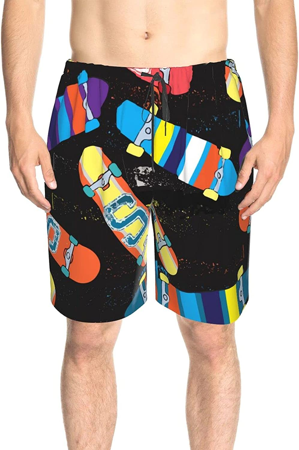 JINJUELS Men's Swim Trunks Colorful Skateboard Bathing Suit Boardshorts Quick Dry Cool Athletic Beach Short with Mesh Lining