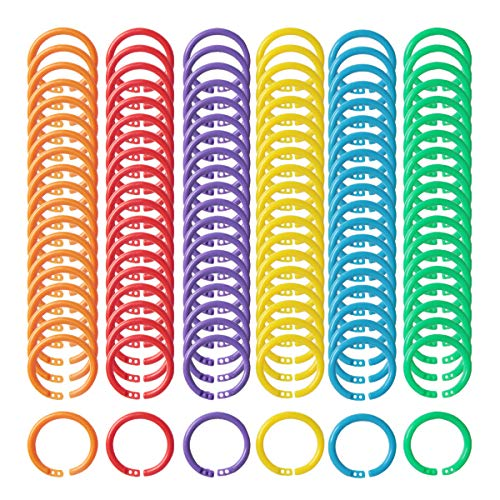 yalansmaiP 120pcs Loose Leaf Binder Rings, Plastic Loose Leaf Rings Office Notebook Rings Keychain Rings for Cards Document Stack Swatches, 6 Colors (27mm)