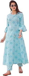 LOVISTA Cotton Gota Patti Tassel Traditional Printed Kurti with Pant,Angrakha Salwar Suit