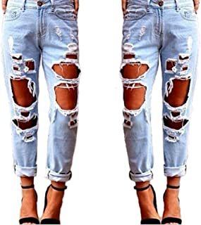 Womens Jeans Distressed Ripped Denim Boyfriend Jeans,Ladies/Womens Ripped Skinny Destroyed Jeans with Holes Slim Fit Casua...