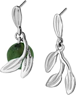 Martha Vargas: Aretes de plata ley .925 colección olivos ramo de hojas con cuenta.