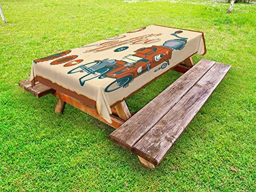 ABAKUHAUS retro Tafelkleed voor Buitengebruik, Truck Koffiemolen, Decoratief Wasbaar Tafelkleed voor Picknicktafel, 58 x 84 cm, Cream Orange Gray