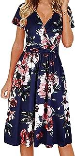 Lovor Women's V Neck Print Elegant Dress,Wrap Maxi Dress Short Sleeve Floral Flowy Front Summer Party Wedding Dress
