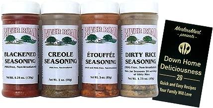 River Road by Fiesta MSG-Free Cajun Seasoning Favorites 4 Flavor Plus Recipe Booklet Bundle, 1 each: Blackened, Creole, Etouffee, Dirty Rice (2-4.25 Ounces)