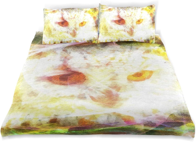 FAJRO Parure de lit Super Douce avec Housse de Couette et 2 taies d'oreiller de Taille Standard pour étudiants Motif Chouette