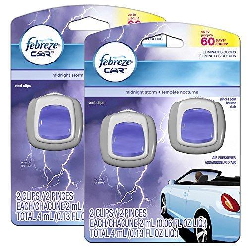 Febreze Midnight Storm Car Vent Clip Air Freshener, 4 Total Clips