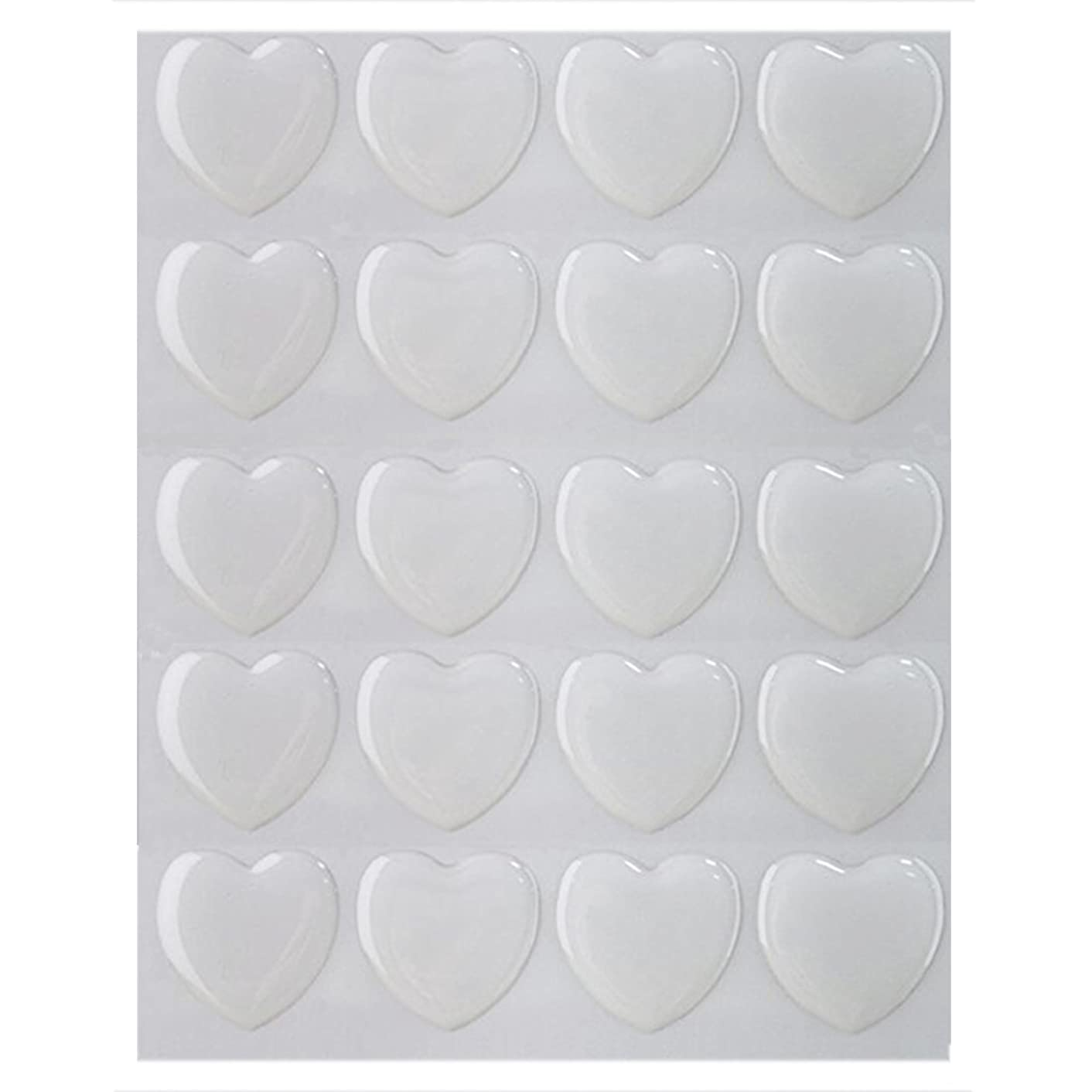 IGOGO 100 PCS Clear Heart Epoxy Stickers Adhesive Seal for Bottle Cap and Pendants 1-Inch