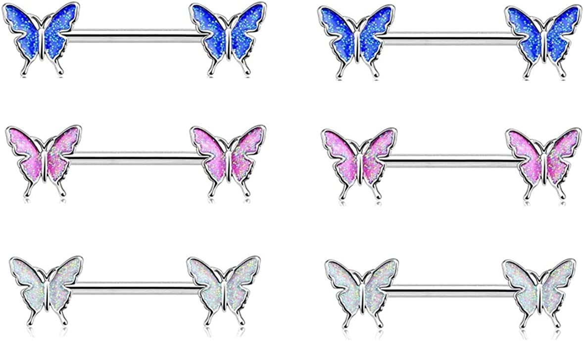 3 Pcs Set Butterfly Nipple Barbell 14g Colorful Charming Nipple Piercing Animals Jewelry Nipple Ring Bar Body Piercing Jewelry for Women Girls