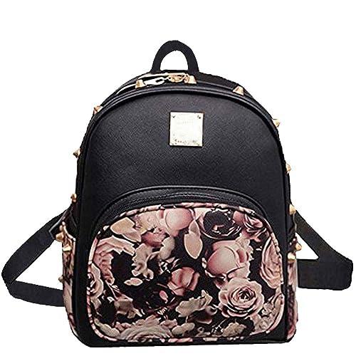 8f7ba41111a6 Donalworld Girl Floral School Bag Travel Cute PU Leather Mini Backpack  Black1
