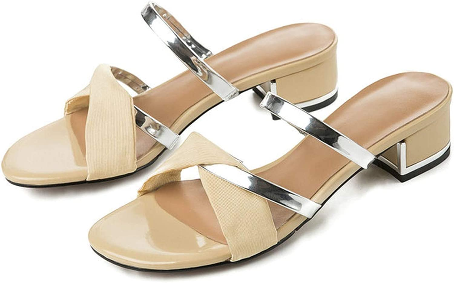goldsmyth Women Slippers 3Cm Low Square Heels Lady Casual shoes New Woman Sandals Size 41 42