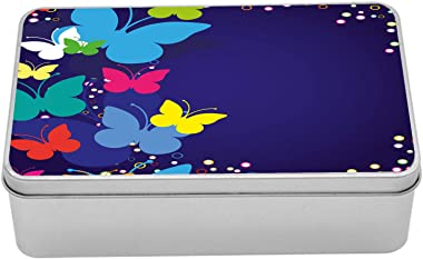 Lunarable Nature Tin Box, Modern Design with Rainbow Butterflies Bubbles Dots in a Frame Like Image Artwork, Portable Rectang