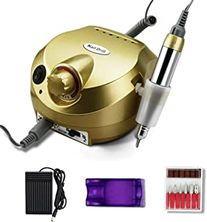 Professional Manicure Machine 25000 RPM Electric Nail Drill,Electric Nail File Manicure Pedicure Machine for Acrylic Gel Nails with 6 Bits Set, Home Use,Gold