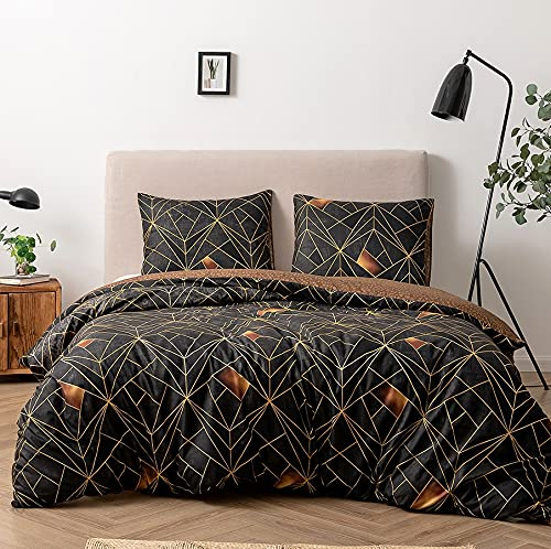 Damier Ropa de cama 220 x 240 cm, diseño geométrico de rayas y triángulos, reversible, 3 piezas, funda nórdica de microfibra suave con cremallera y 2 fundas de almohada de 80 x 80 cm