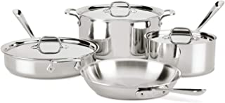All-Clad 401599 Stainless Steel Tri-Ply Bonded Dishwasher Safe Cookware Set 7-Piece 8400001958