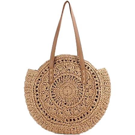 VOANZO Handgefertigte große Kapazität hohle runde Strohtasche, modische weibliche One-Shoulder-gewebte Sommer-Strandtasche (braun)