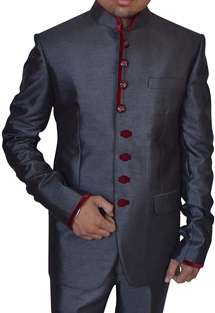 INMONARCH Mens Gray 2 pc Polyester Tuxedo Suit Maroon Trimmed TX0995