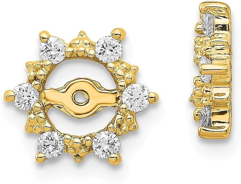 Solid 14k Yellow Gold Diamond earring jacket 10mm (.24 cttw.)