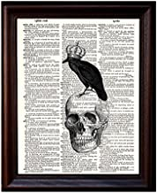 Dictionary Art Print - Raven Skull and Crown - Printed on Recycled Vintage Dictionary Paper - 8