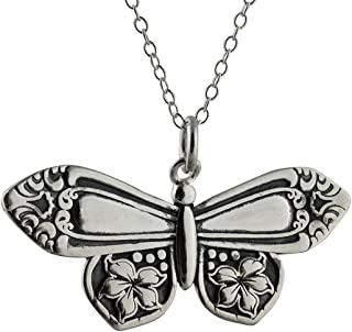 Sterling Silver Spoon Handle Butterfly Pendant Necklace, 18
