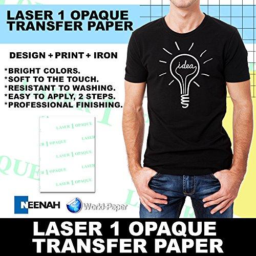 "LASER TRANSFER PAPER FOR DARK FABRIC: NEENAH""LASER 1 OPAQUE"" (8.5""X11"") 100Pk :)"