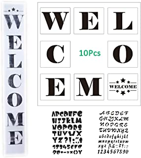 10 Pcs/Set Welcome Sign Stencils for Painting on Wood 8 Pcs for Making DIY Welcome Sign+2 Pcs Letter and Number Stencils Hotel Home Porch Sign Decorations