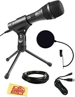 Audio-Technica AT2005USB Cardioid Dynamic USB/XLR Microphone Bundle with Pop Filter, XLR Cable, USB Cable, and Austin Baza...