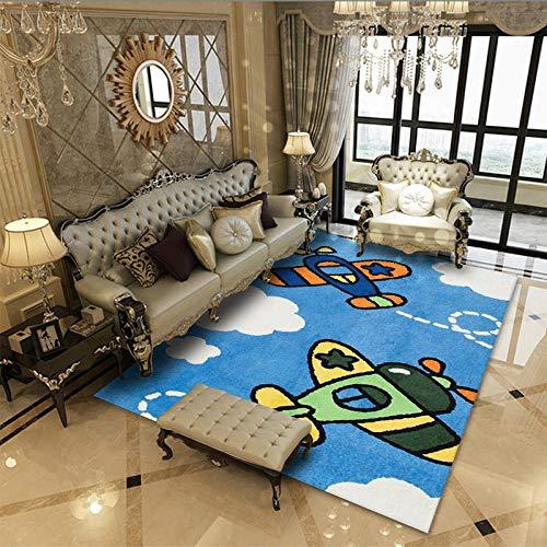 Alfombra SalóN Pelo Corto Moderna Antideslizante Suave Lavables para Comedor Pasillo Y HabitacióN Dormitorio Comedor Moderna DecoracióN Interior,TamañO:160x230cm-Avion Azul