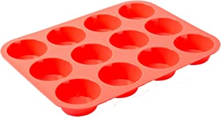 Silicone Muffin Pan, Muffin Top Baking Cups, 12 Cupcake Pan, Nonstick Cupcake Pan, Food Grade SiliconeFDA&LFGB Approved and Guaranteed BPA Free (Coral Orange)