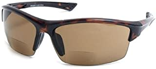 The Foster Bifocal Sun Reader Sport and Wrap Around Reading Sunglasses, Unisex Half Frame Readers for Men and Women in Tortoise with Amber +1.50 (Microfiber Pouch Included)
