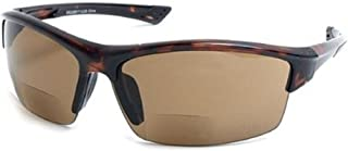 The Foster Bifocal Sun Reader Sport and Wrap Around Reading Sunglasses, Unisex Half Frame Readers for Men and Women in Tortoise with Amber +2.00 (Microfiber Pouch Included)