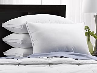 SOFT Exquisite Hotel Pillows Luxury Plush Gel Pillows (4-Pack) - Dust Mite Resistant & Hypoallergenic Peachy Soft Microfiber Gusseted shell - Stomach Sleeper Pillows - King Size