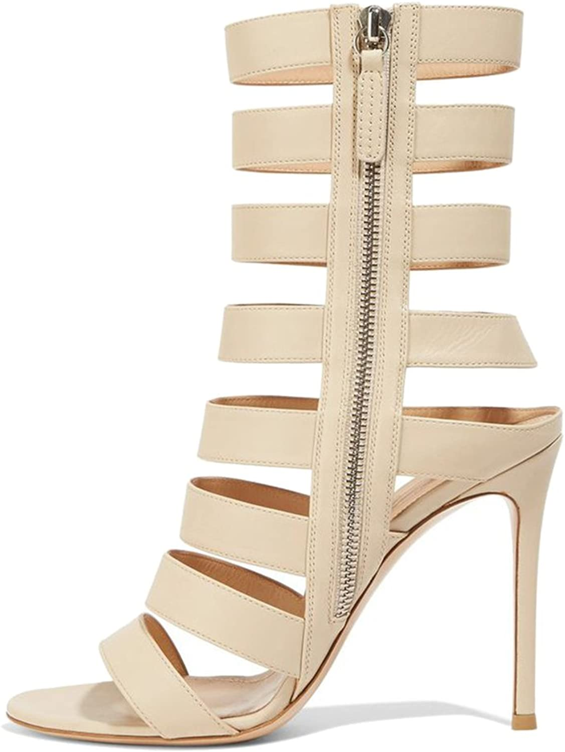 WHL.LL Cross Hollow Sandals for Woman Sandals Beige White High Heel Roman shoes Sexy Stiletto shoes Heeled Sandals Open Toe Sandals(Heel Height  11-13cm)