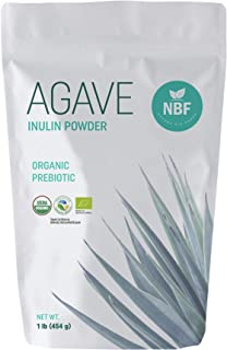 NATURA BIO FOODS Organic Agave Inulin Powder 1lb 100% Fiber Prebiotic Supplement Low Glycemic Index