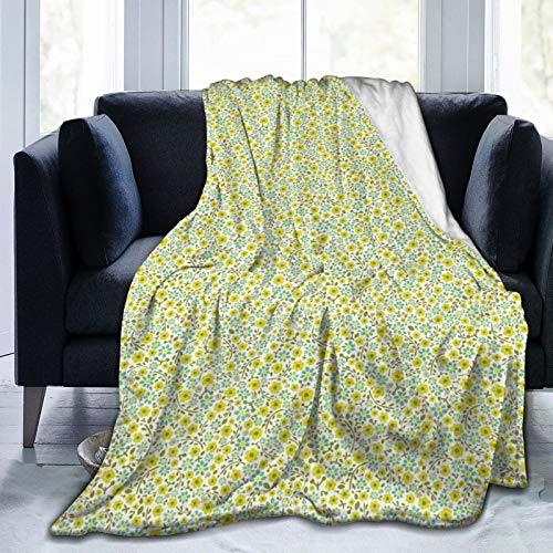 Manta mullida, ilustración de la naturaleza floreciente con tallos pétalos y hojas de follaje, colorido garabato, ultra suave, manta para bebé, cama, cama, TV, manta de 152 x 127 cm